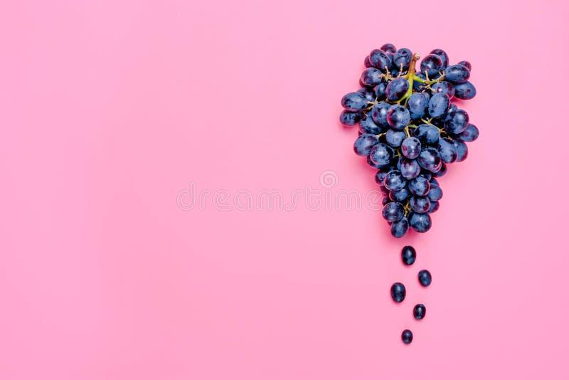 Les raisins juteux noirs organiques naturels sur une tendance dentellent la configuration d'appartement de vue supérieure de fond image libre de droits