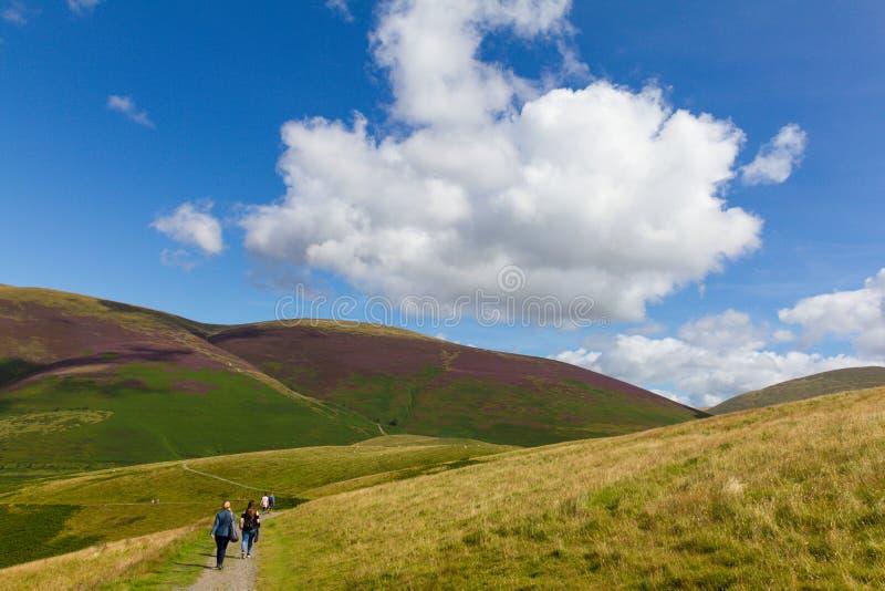 Les randonneurs dans Latrigg donnant sur Keswick et lac Derwent arrosent, Cu photographie stock libre de droits