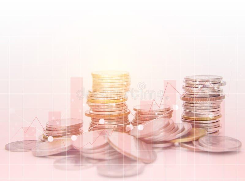 Les rangées invente pour le concept de finances et d'opérations bancaires sur le fond blanc, image stock