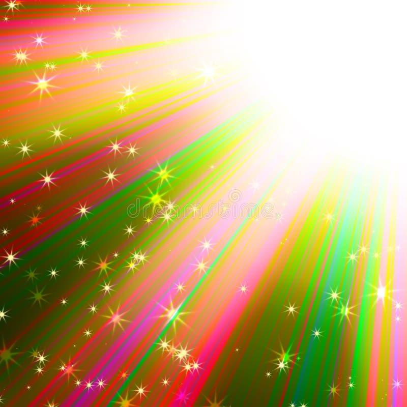 Les rayons du soleil coloré avec des étoiles illustration de vecteur