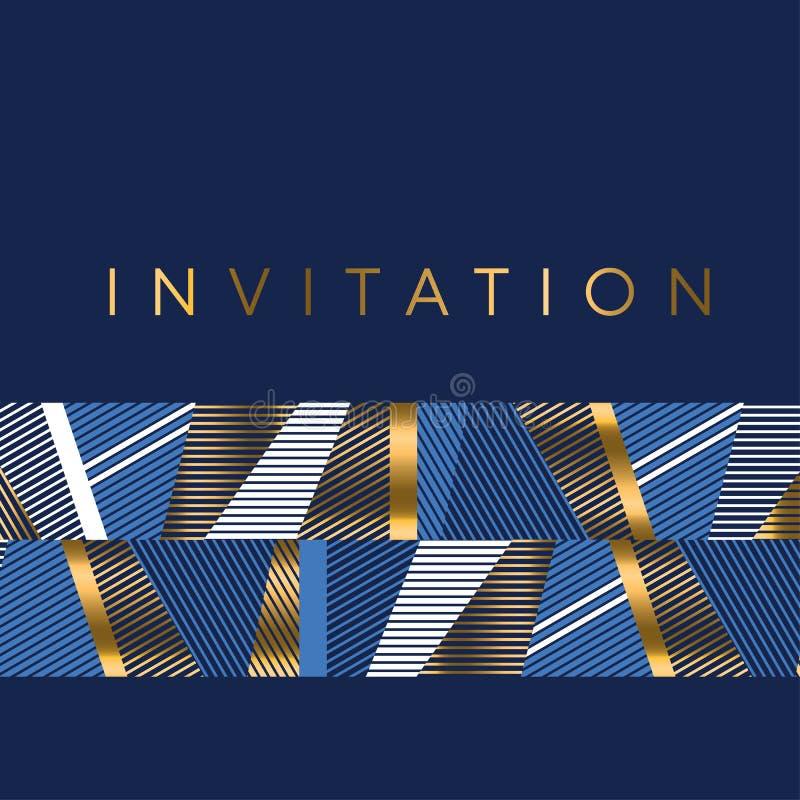 Les rayures bleues d'or et de mer conçoivent l'élément pour pro de fête élégant illustration stock