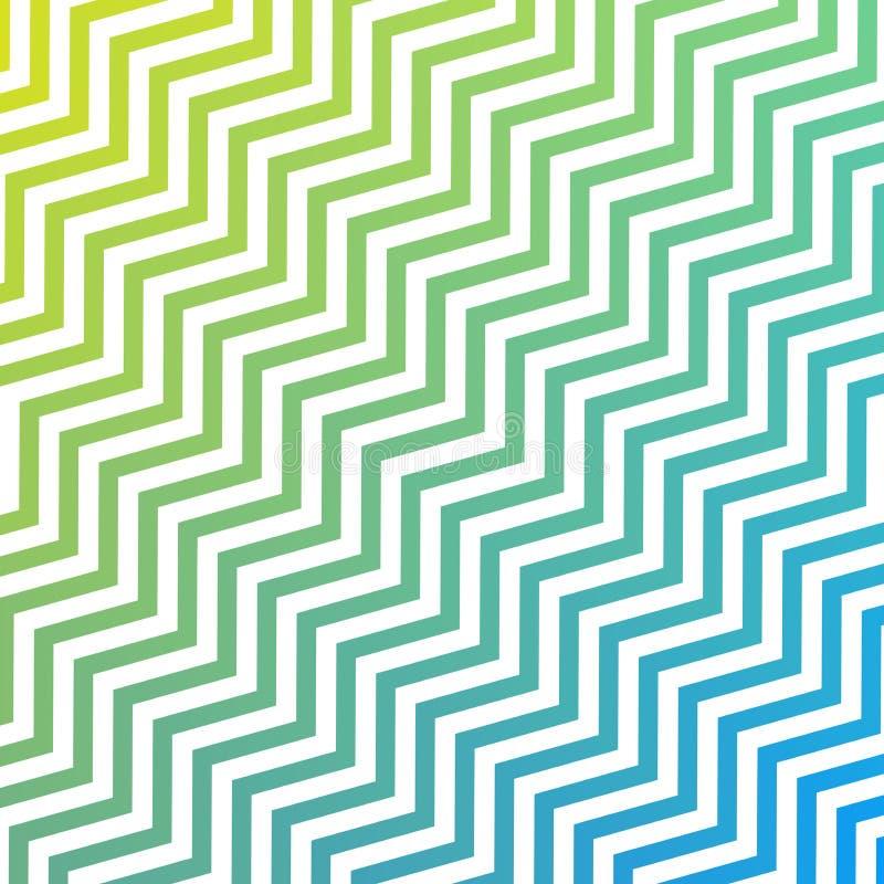 Les rayures de vert et blanches bleues diagonales de entrelacement sans couture de zigzag donnent au fond une consistance rugueus illustration libre de droits