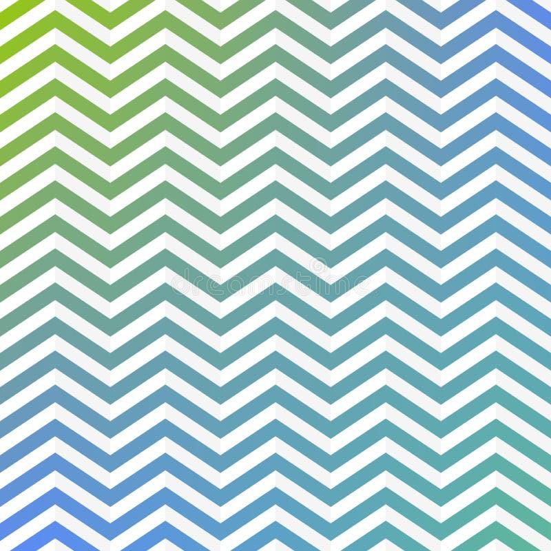 Les rayures de vert et blanches bleues de entrelacement sans couture de zigzag donnent au fond une consistance rugueuse illustration stock