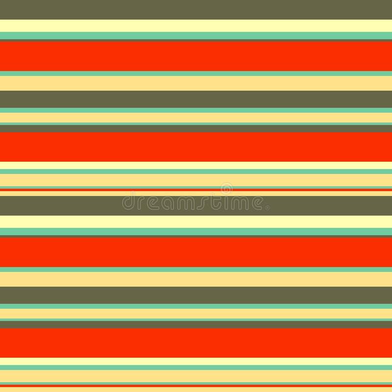 Les rayures géométriques abstraites sans couture dirigent le fond de modèle avec les traits horizontaux colorés bleu beige brun o illustration stock