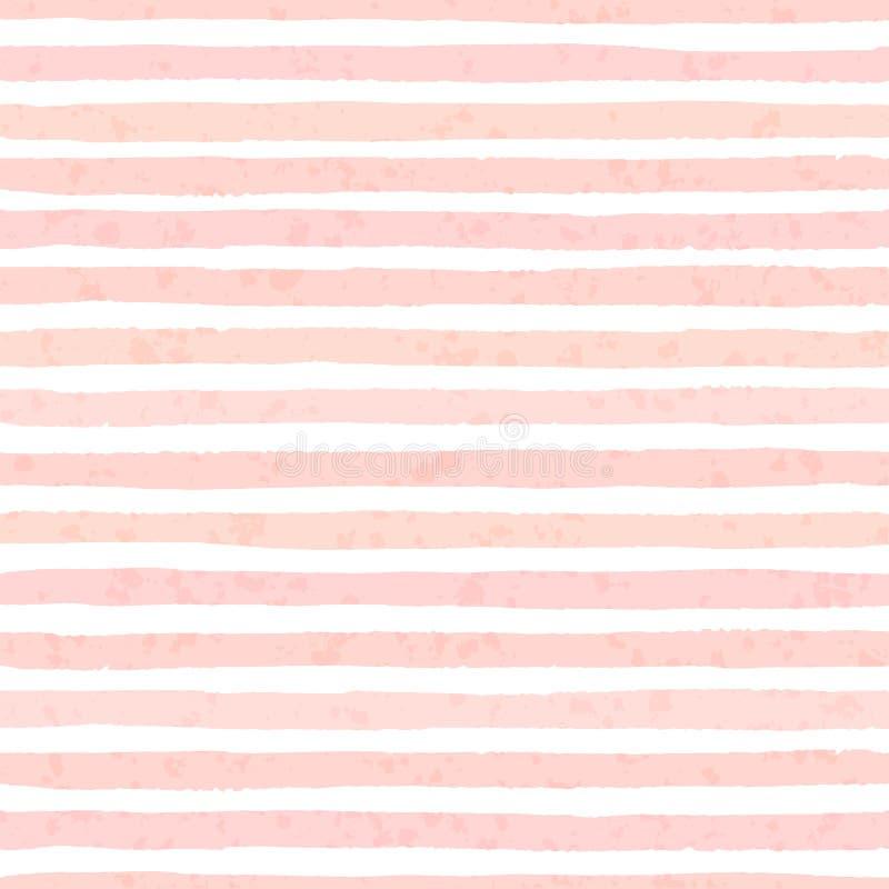 Les rayures grunges de vecteur texturisé du rose en pastel colore le modèle sans couture illustration libre de droits