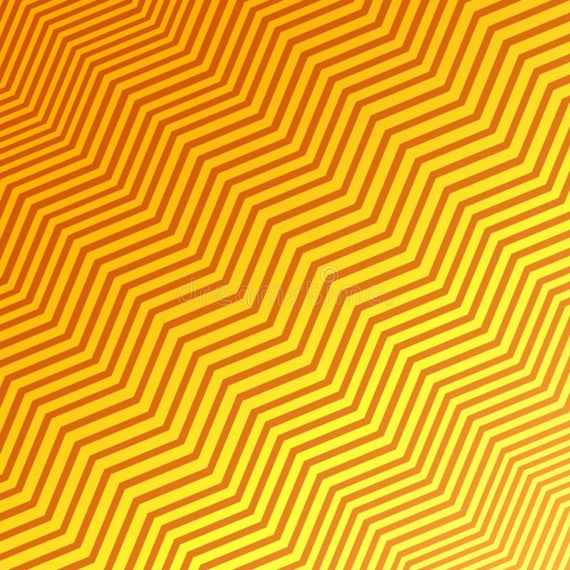 Les rayures jaunes et oranges de diagonale de entrelacement sans couture de zigzag donnent au fond une consistance rugueuse illustration libre de droits