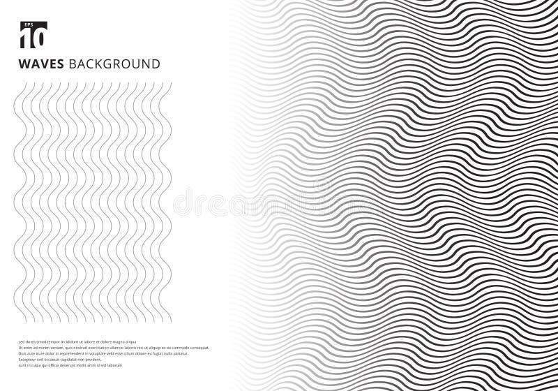 Les rayures onduleuses noires de calibre de résumé ont courbé des lignes texture d'ondulation sur le fond blanc avec l'espace de  illustration de vecteur