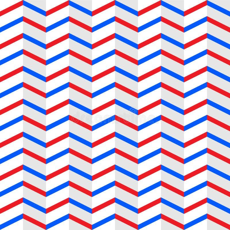 Les rayures rouges et bleues entrelac?es sans couture de zigzag donnent une consistance rugueuse ? l'arri?re-plan blanc illustration de vecteur