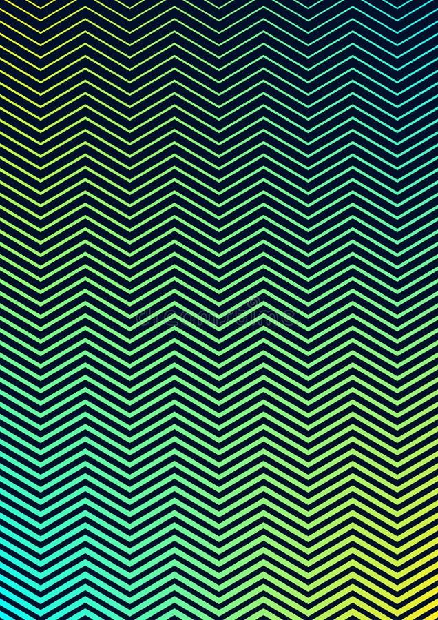 Les rayures vertes bleues horizontales sans couture de zigzag donnent au fond une consistance rugueuse illustration de vecteur