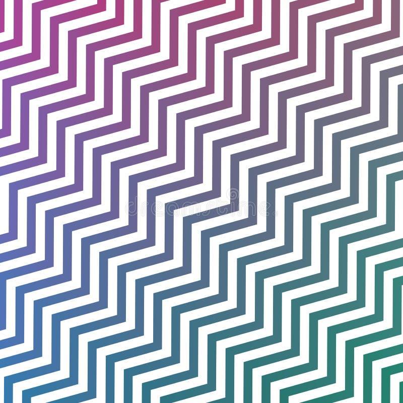 Les rayures vertes de pourpre et blanches bleues diagonales de entrelacement sans couture de zigzag donnent au fond une consistan illustration libre de droits