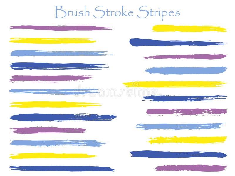 Les rayures violettes de course de brosse d'encre de griffonnage dirigent l'ensemble, le marqueur horizontal ou les lignes correc illustration de vecteur