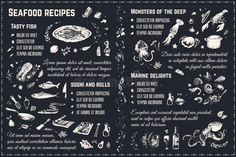 Les recettes de fruits de mer marquent des croquis à la craie de dessin Vecteur illustration stock