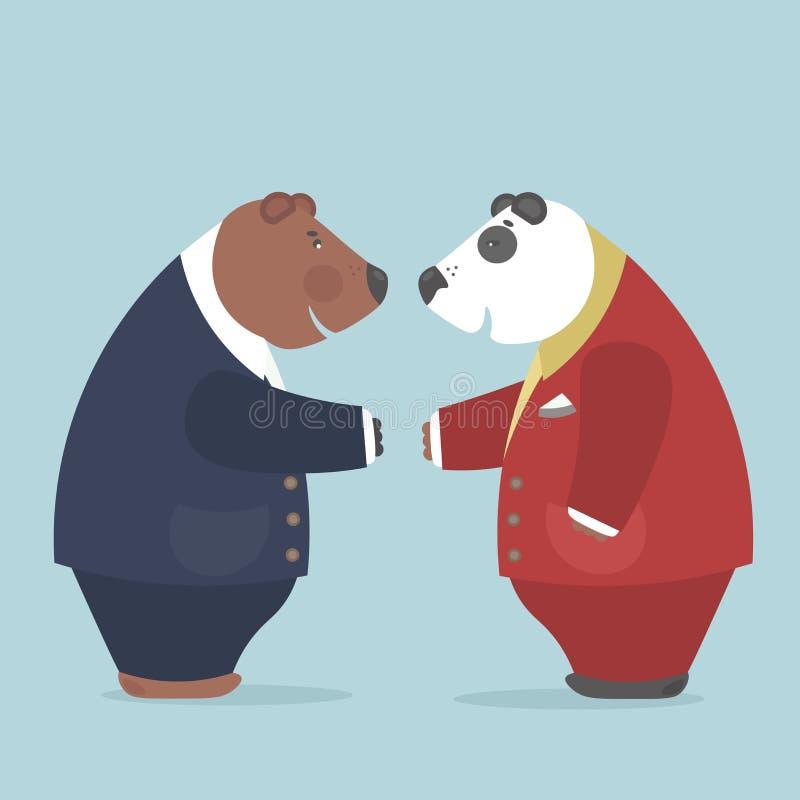 Les représentants des deux nations réalisent des accords importants illustration stock