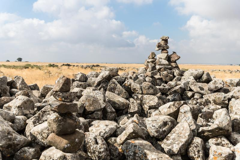 Les restes du complexe mégalithique de l'âge du bronze jeune - Roues des spiritueux - Al-Hiri de Rujum - Gilgal Rephaeem - sur l images stock