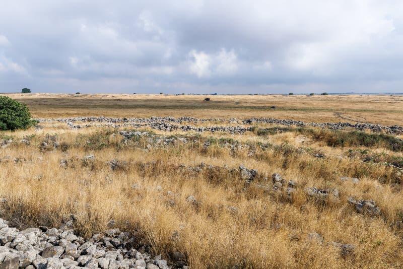 Les restes du complexe mégalithique des premières roues d'âge du bronzedes spiritueux, Al-Hiri de Rujum, Gilgal Rephaeem sur Gol photo libre de droits