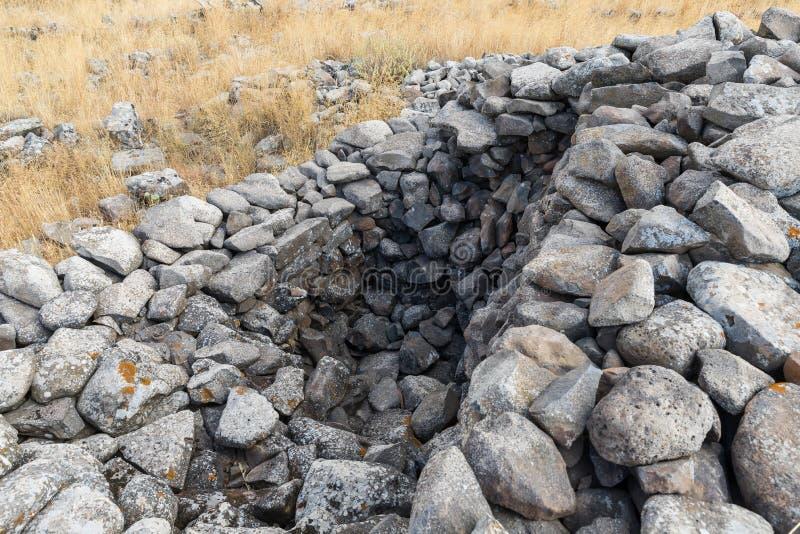 Les restes du complexe mégalithique des premières roues d'âge du bronzedes spiritueux, Al-Hiri de Rujum, Gilgal Rephaeem sur Gol photos libres de droits