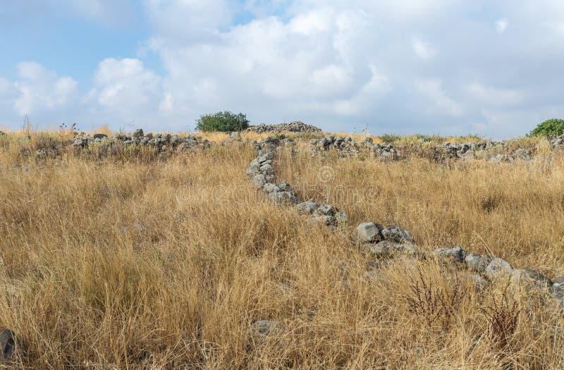 Les restes du complexe mégalithique des premières roues d'âge du bronzedes spiritueux, Al-Hiri de Rujum, Gilgal Rephaeem sur Gol photo stock