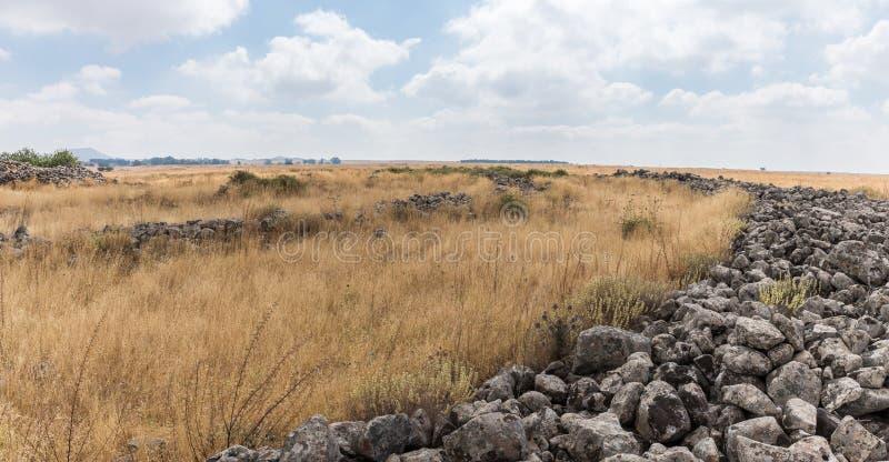 Les restes du complexe mégalithique des premières roues d'âge du bronzedes spiritueux, Al-Hiri de Rujum, Gilgal Rephaeem sur Gol images stock