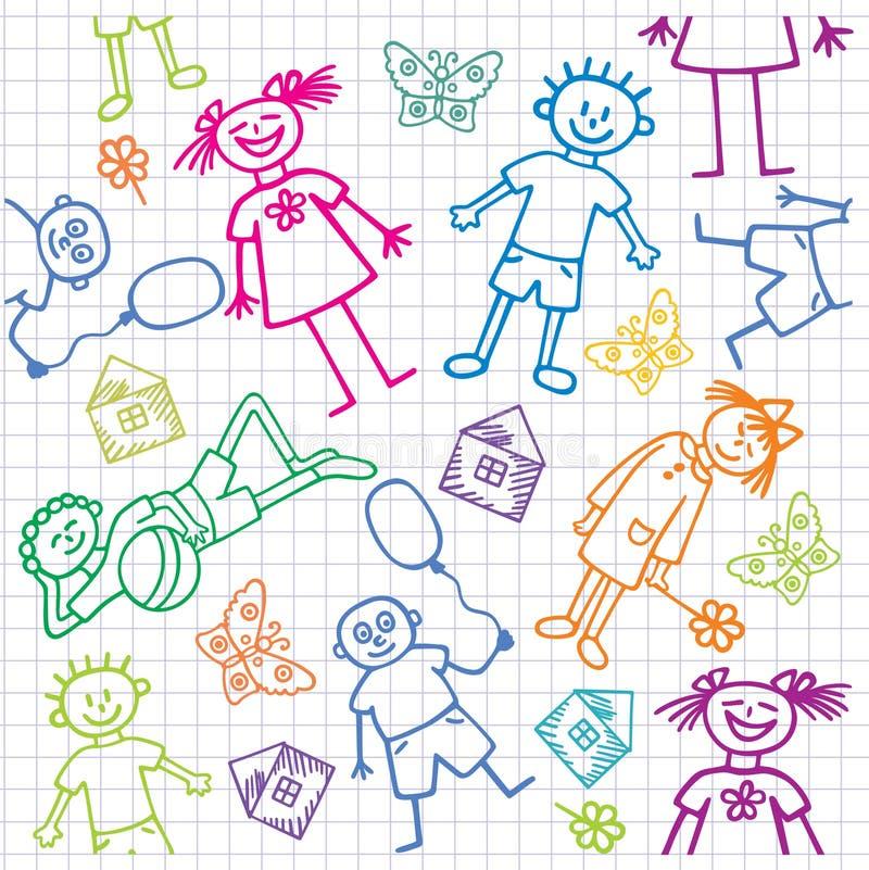 Les retraits des enfants. Fond sans joint. illustration stock