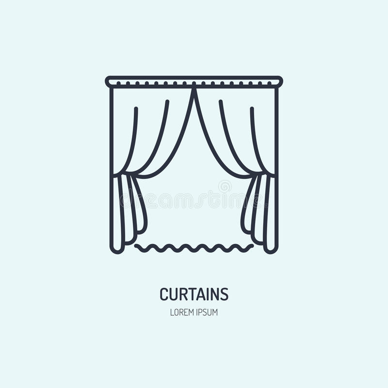 Les rideaux rayent l'icône, logo à la maison de nettoyage de textile Signe plat de magasin de jalousie, illustration pour la bout illustration stock