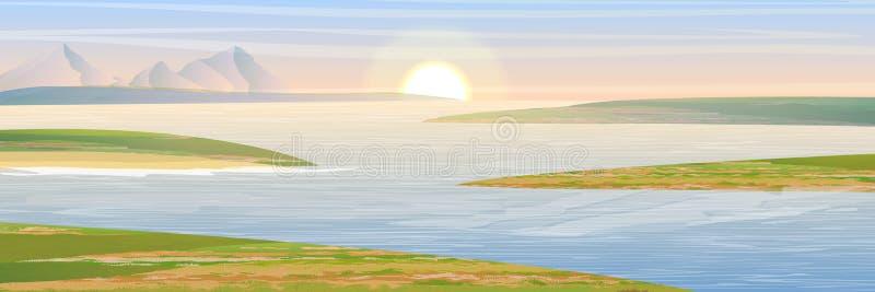 Les rivages de la baie Montagnes et ciel illustration libre de droits