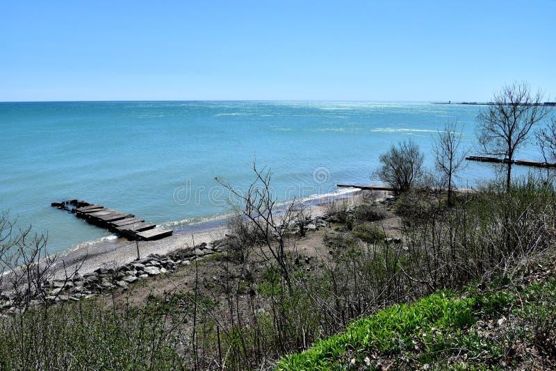 Les rivages du lac Michigan de Racine le Wisconsin photo libre de droits