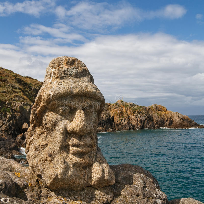 Les Rochers Sculptes (Sculptures) in Rotheneuf. Saint-Malo, Brittany, France stock photography