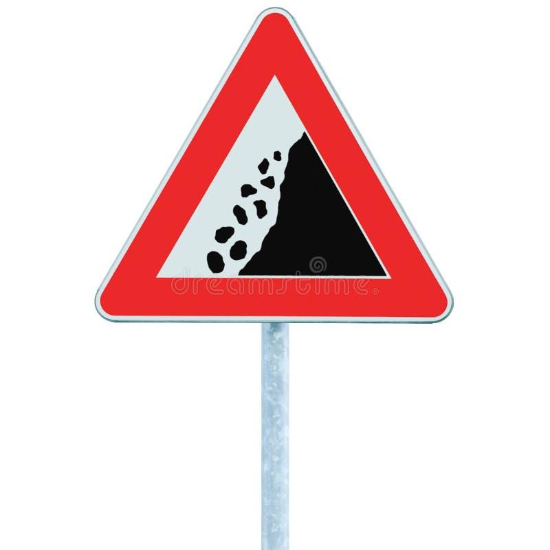Les roches en baisse risquent le panneau routier de précaution sur le courrier de poteau, de grandes pierres verticales d'isoleme image stock