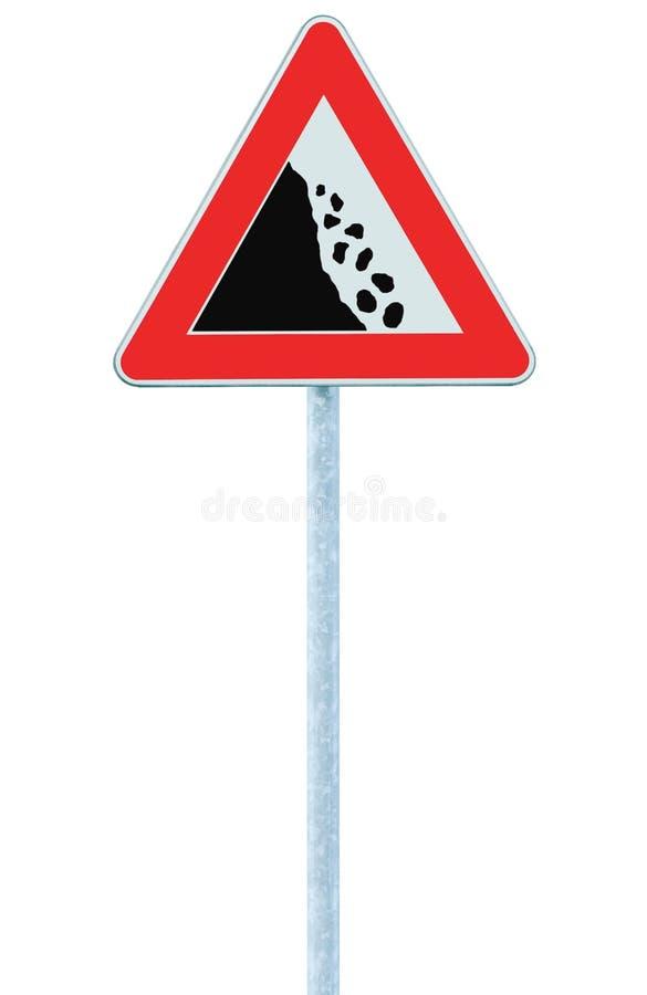 Les roches en baisse risquent le panneau routier de précaution sur le courrier de poteau, de grandes pierres verticales d'isoleme photographie stock