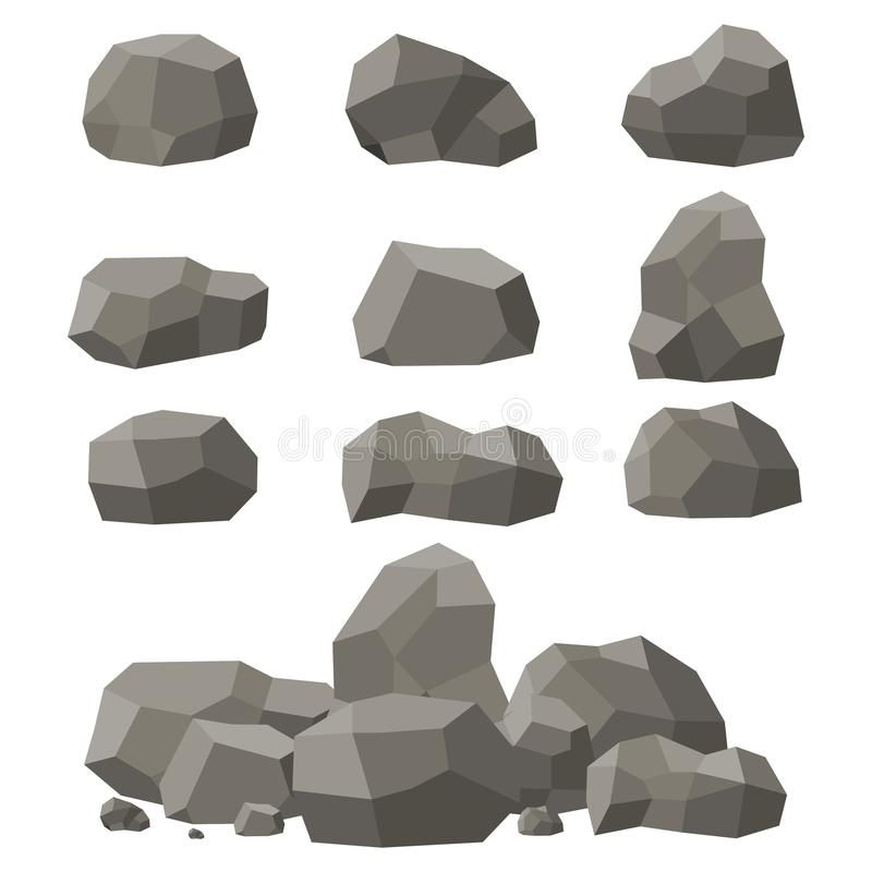 Les roches et les pierres placent, choisissent ou ont empilé sur le fond blanc Pierres et roches dans le style 3d plat isométriqu illustration stock
