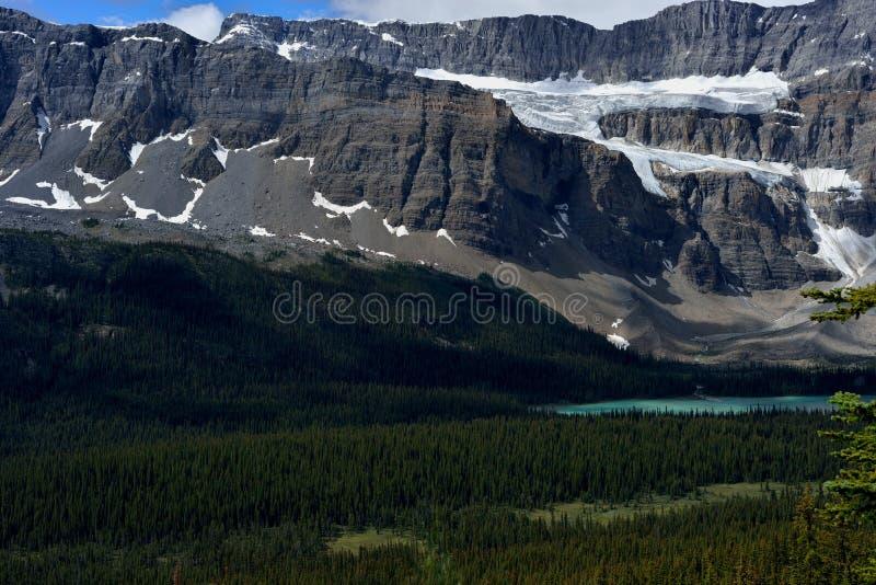 Les Rocheuses canadiennes Glacier de rallonge coudée et lac bow photo libre de droits