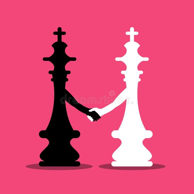 Les Rois noirs et blancs Holding Hands d'échecs illustration stock