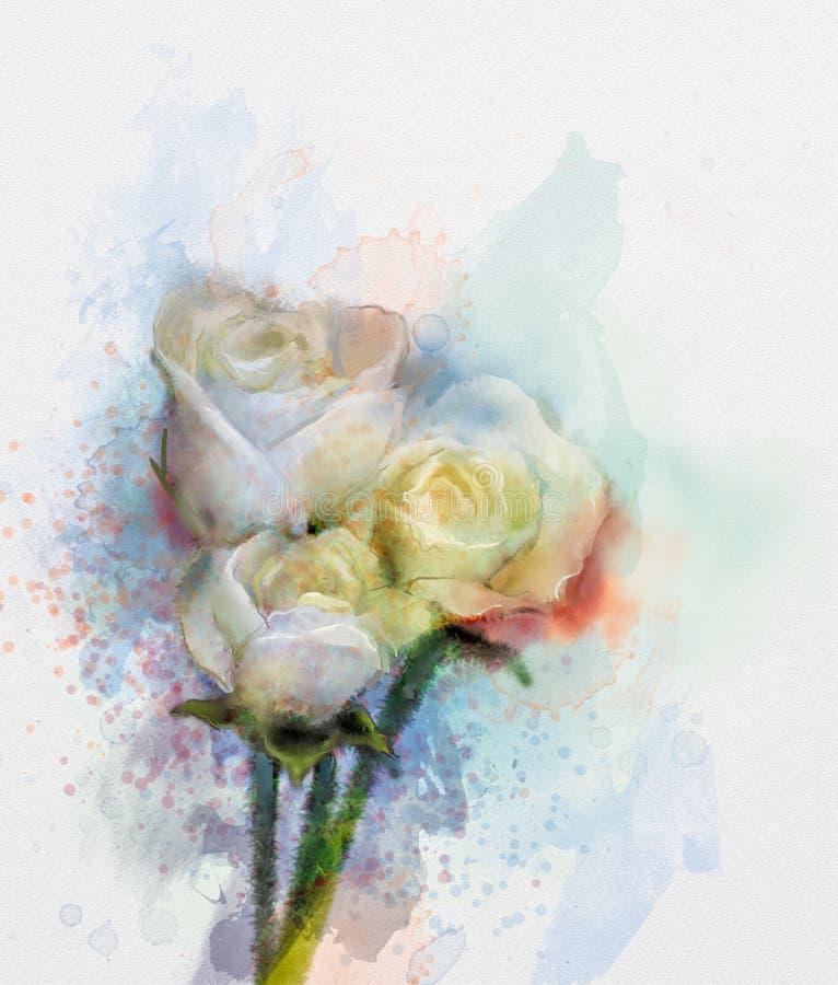 Les Roses Blanches Fleurit La Peinture Dans La Couleur En Pastel