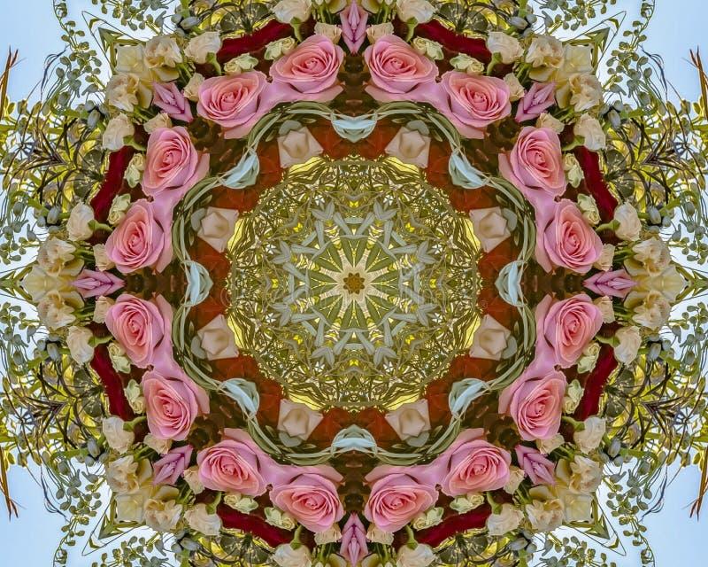 Les roses de beaucoup de couleurs ont transformé en disposition circulaire avec les feuilles vertes dans le mariage de la Califor illustration libre de droits