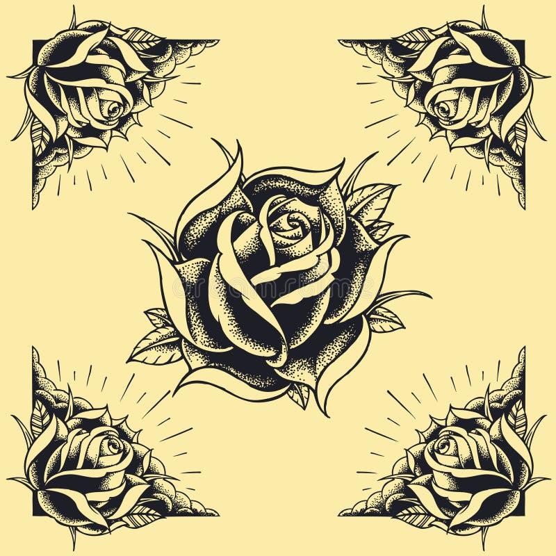 Les roses et la conception de style de tatouage de vue ont placé 02 illustration de vecteur