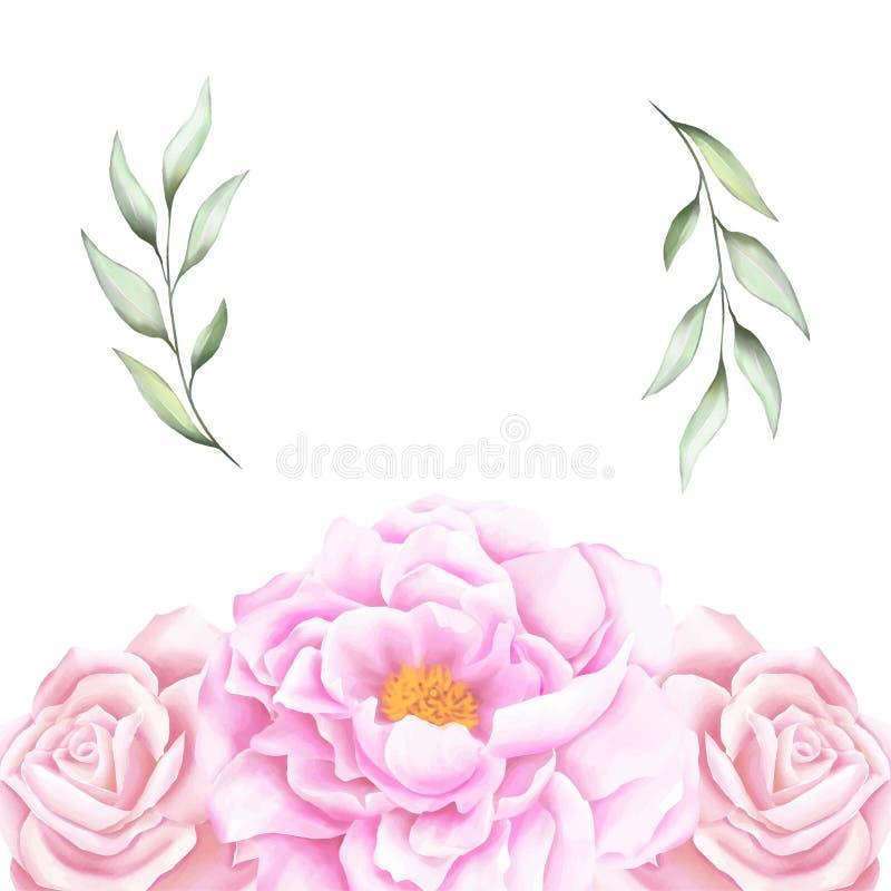 Les roses et la pivoine d'aquarelle sauvent le concept d'invitation de mariage de date La fleur et les branches de dessin de main illustration stock