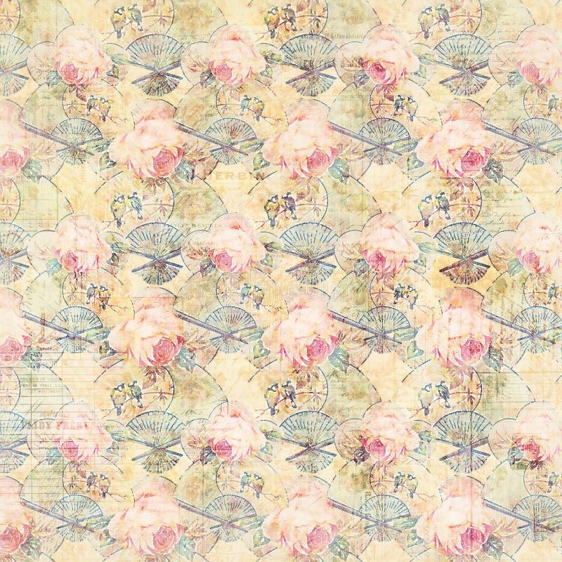 Les roses et les fans antiques de vintage ont modelé le fond dans des couleurs roses et vertes de ressort illustration libre de droits