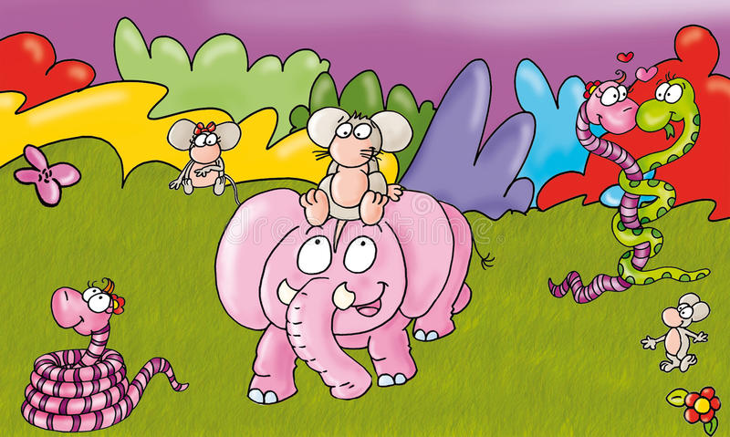 Les roses et les oiseaux de souris d'éléphant ont coloré les fables barrées par serpent de la savane illustrées pour des livres illustration de vecteur