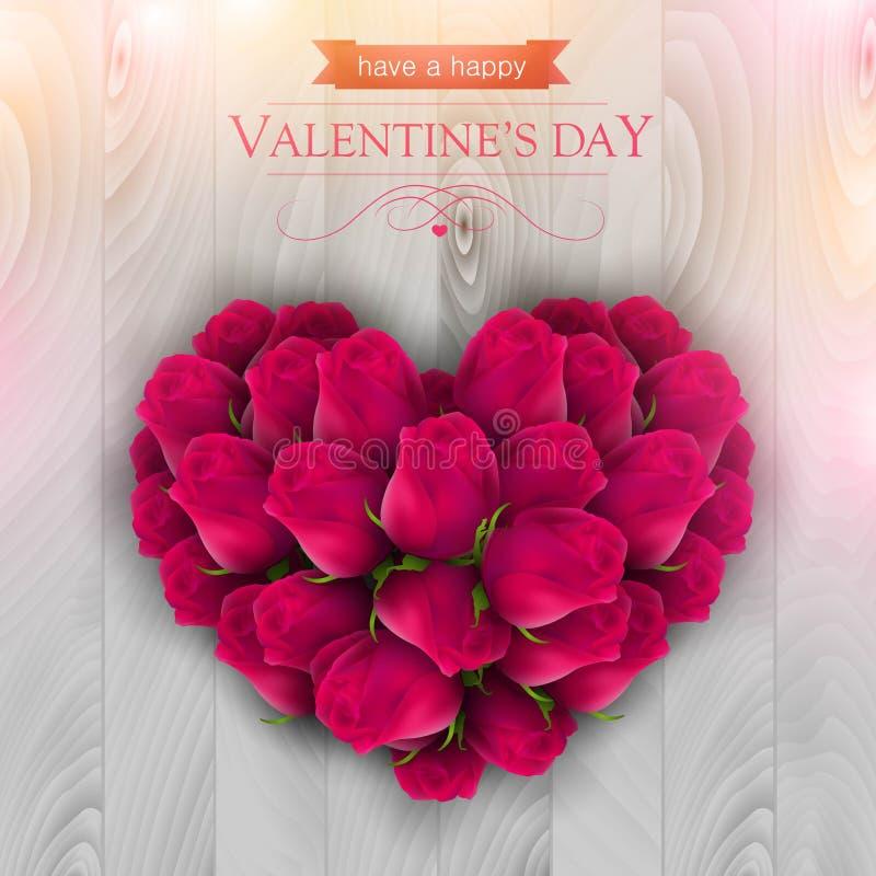 Les roses roses ont arrangé dans une forme d'un coeur illustration libre de droits