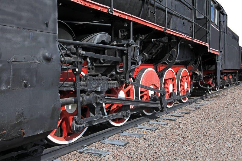 Les roues d'une vieille machine à vapeur image libre de droits
