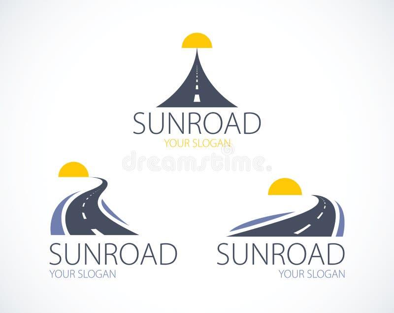 Les routes au coucher de soleil, les routes incurvées dirigent le DES parfait illustration de vecteur