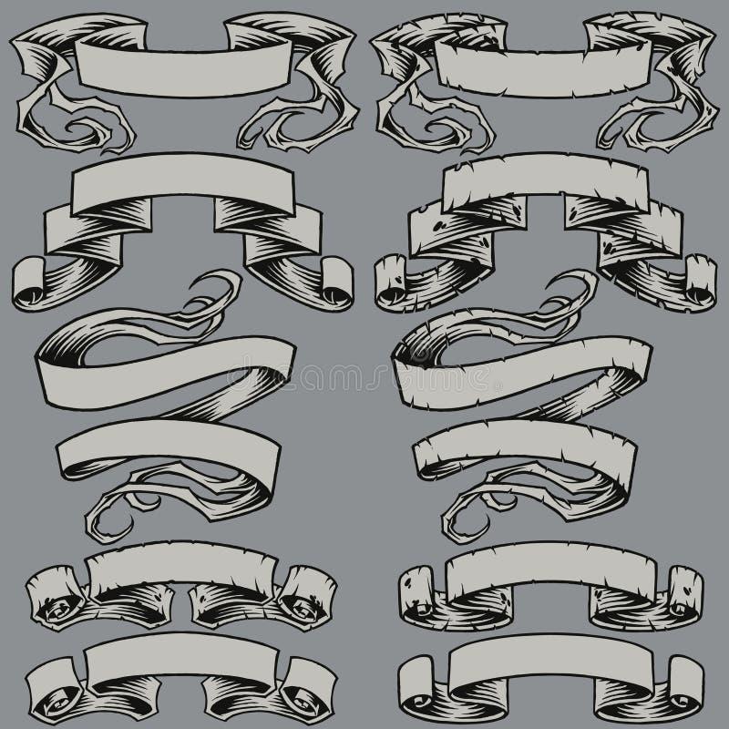 Les rubans et ont endommagé des rubans réglés illustration stock