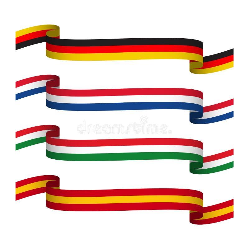 Les rubans réglés de vecteur dans les couleurs de l'Allemagne, France, de l'Italie et de l'Espagne ont isolé illustration libre de droits