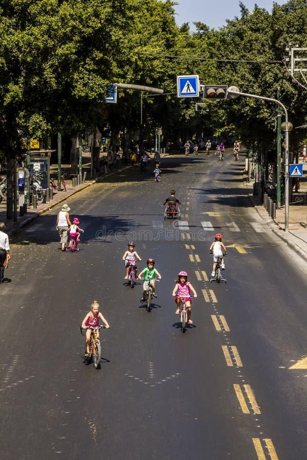 Les rues de Tel Aviv pendant les vacances Yom Kippur de religion, photos libres de droits
