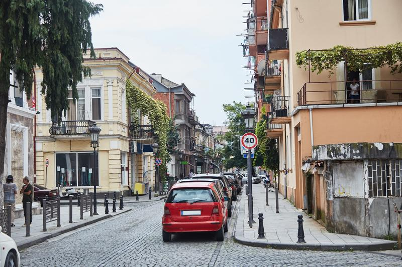 Les rues de vieux Batumi georgia Taudis images stock