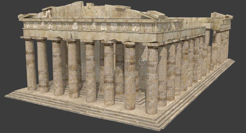 Les ruines 3D de parthenon rendent illustration stock