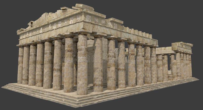 Les ruines 3D de parthenon rendent illustration libre de droits
