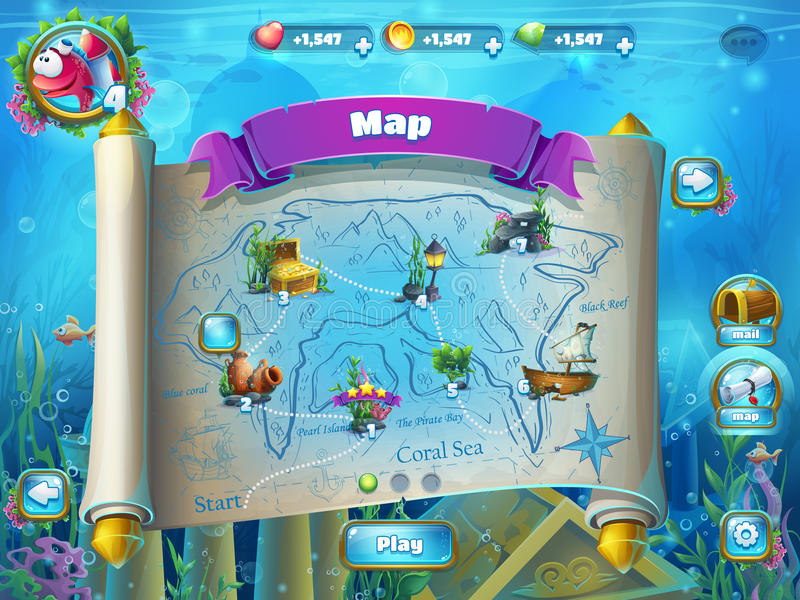 Les ruines de l'Atlantide avec des poissons montent en flèche - la carte de niveau de jeu illustration stock