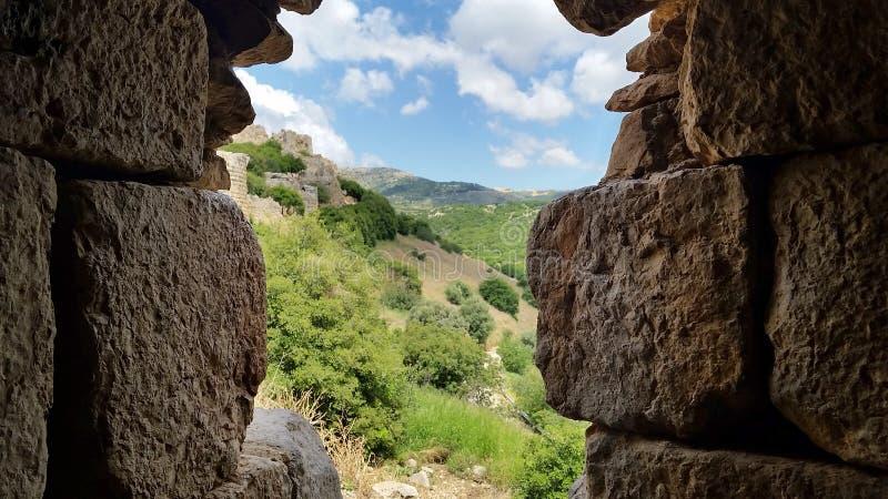 Les ruines de la forteresse du ` s de Nimrod en Israël images libres de droits