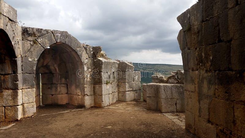 Les ruines de la forteresse du ` s de Nimrod en Israël photographie stock